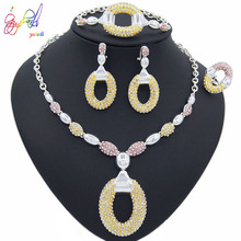 Yulaili New Dubai Jewelry Sets Austrian Crystal Wedding Accessories Tricolor Long Chain Pendant Necklace Earrings Bracelet Ring