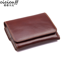 CICICUFF RFID Blocking Genuine Leather Men Wallet Brand Male Wallets Anti scanning Real Leather Short Purse with Coin Pocket