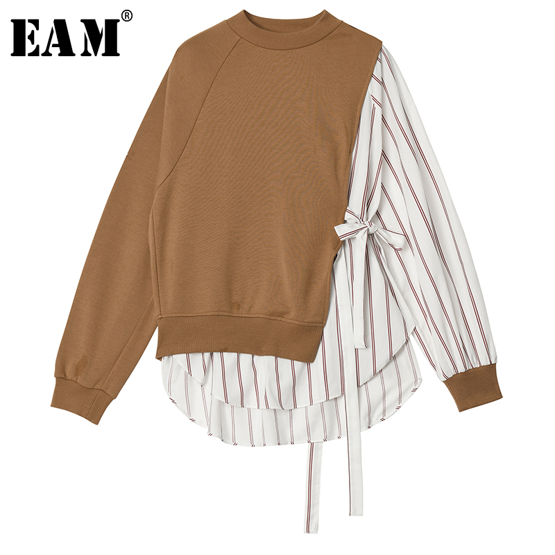 [EAM] Loose Fit Striped Bandage Stitch Sweatshirt New Round Neck Long Sleeve Women Big Size Fashion Tide Spring 2020 1R819