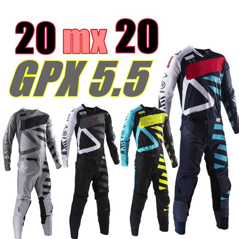 2020 GPX 5.5 ensemble de vitesse de Motocross 4 couleurs MX Moto Kits ATV Dirt Bike Jersey et pantalon Supercross Enduro Jersey ensemble