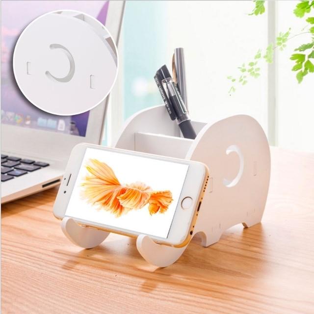Desktop de madeira elefante lápis titular telefone caneta suporte suporte rack armazenamento