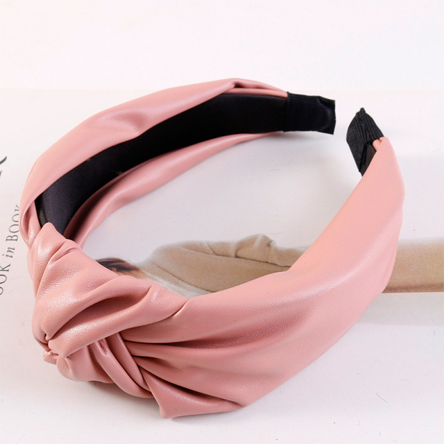 Women Headband PU Leather Retro Hairbands For Women Top Knotted Girls Hair Band Female Hair Accessories Handmade Head Hoop Bezel 3