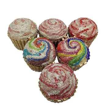 Boutique De FGG Donne Mini Cupcake Sacchetto di Sera Della Frizione di Cristallo di Cerimonia Nuziale Della Borsa e Borsa Da Sposa Del Partito Del Diamante di Minaudiere Borsa