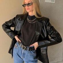 Jacket Women Blazer Trench-Coat Faux-Leather Blackladies Korean-Style Autumn Winter Turn-Down-Collar