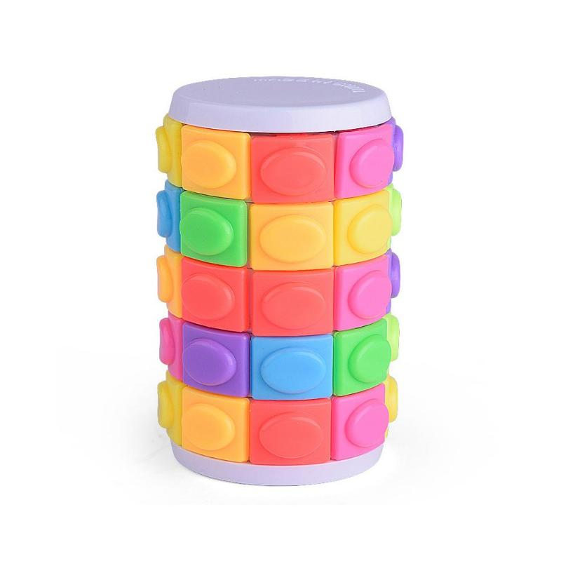 3D Rotate Slide Tower Stress Cube Puzzle Toy Cube Adult Color Cylinder Sliding Creative Puzzle Sensory Education Toys For Child