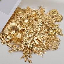 50g 100g Metal mixto flor filigrana envolturas conectores hierro Metal artesanía regalo decoración DIY oro rodio venta al por mayor encantos