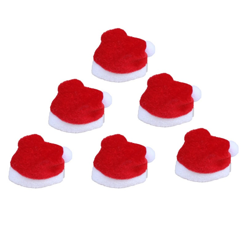 10pcs/lot 4x7cm Mini Christmas Hat Santa Claus Xmas Folded Hat Mini Wine Covers for Wedding Christmas Party Table Decoratrion