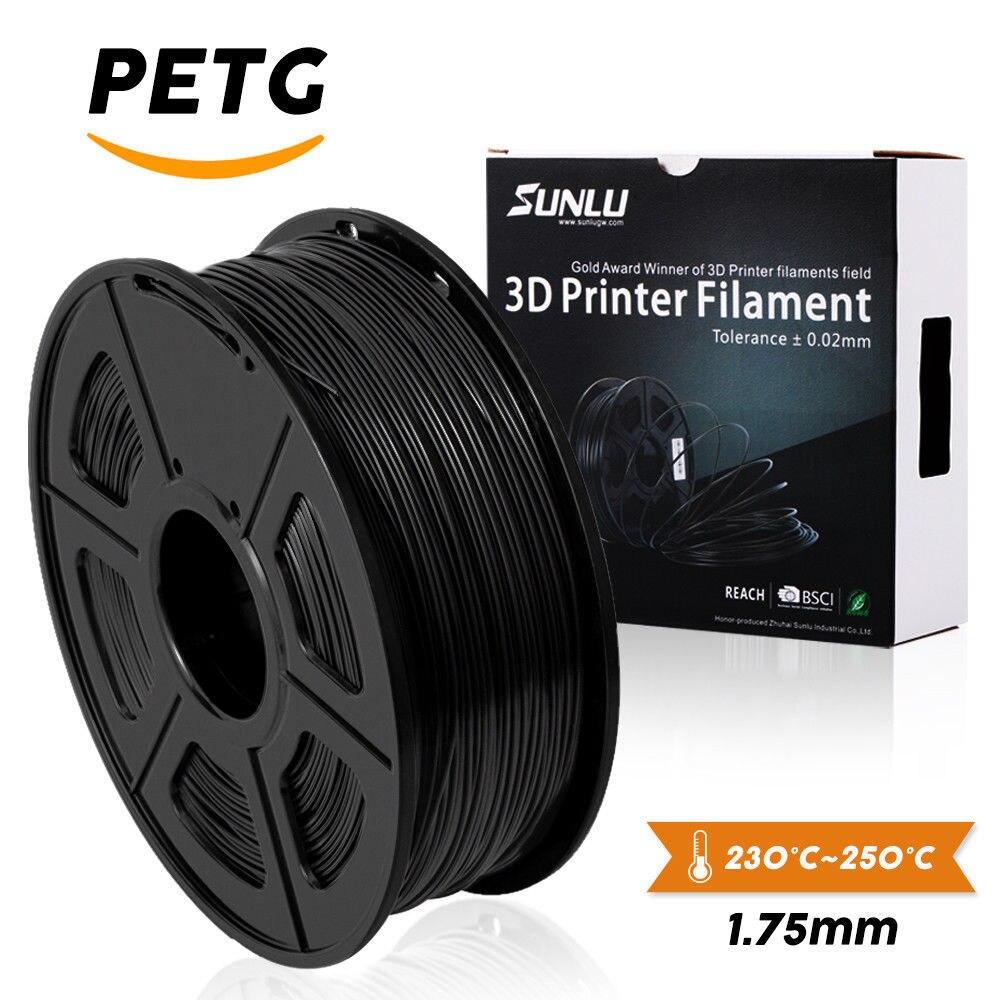 Filament d'imprimante de la couleur noire PETG 3D du Filament 1.75MM de SUNLU PETG 1KG avec le consommable de forme de bobine