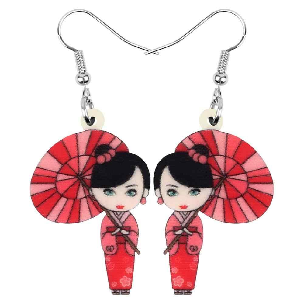 Bonsny Acrilico Giapponese del kimono Della Ragazza Parasole Orecchini di Goccia Ciondola I Monili Per Le Donne Ragazze Adolescenti Decorazioni Del Partito del Regalo Accessorio