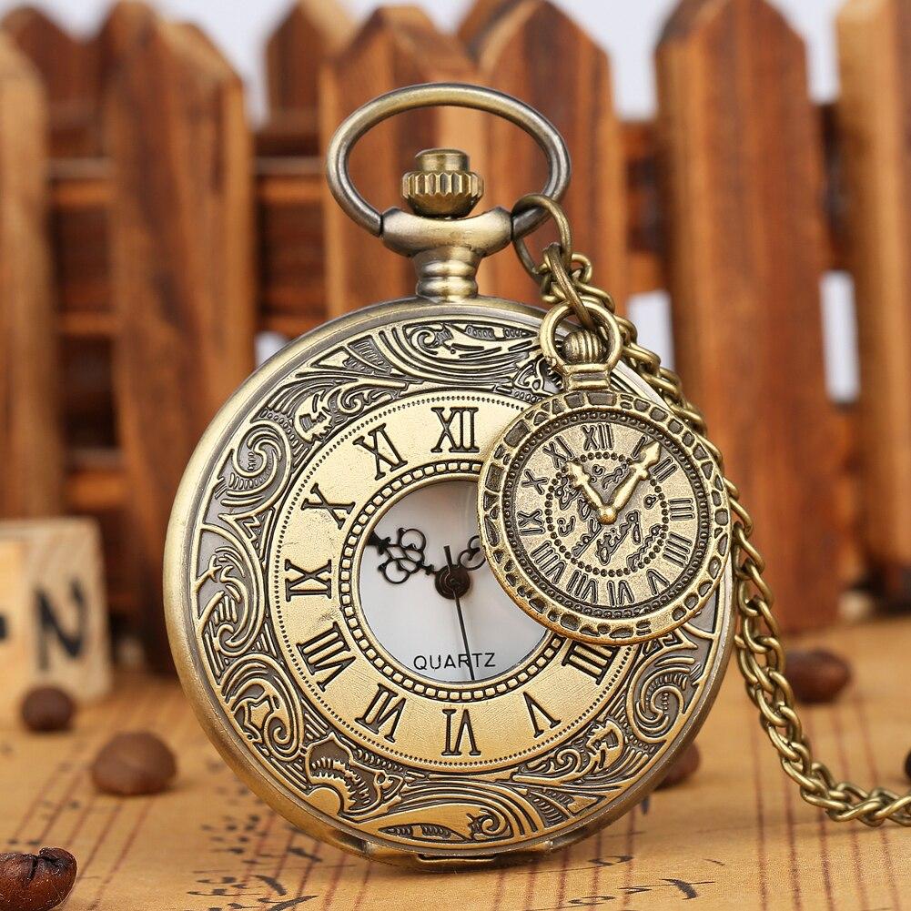 Classical Bronze Cover Pocket Watch Men Exquisite Half-hollow Clock Accessory Women Alloy Chain Pendant Teens Reloj Bolsillo