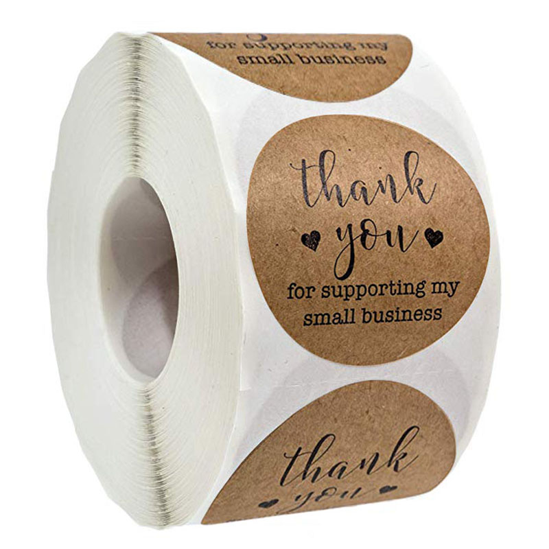 500 Labels Per Roll Round Kraft Thank You For Your Business Stickers Seal Label Christmas Decoration Stickers Stationery Sticker
