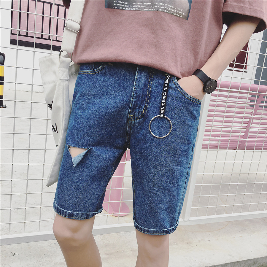 Summer New Style Korean-style Men Fifth Pants Youth Fashion BOY'S Shorts Men'S Wear With Holes MEN'S Jeans Shorts Men's