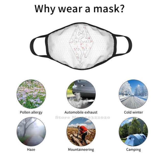 Хлопковая маска для лица Skyrim с мраморным логотипом -