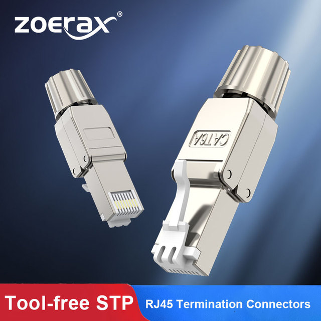 ZoeRax RJ45 Cat6A/Cat7 Connectors Tool-Free Reusable Shielded Ethernet Termination Plugs, Internet Plug, Fast Field Installation 1
