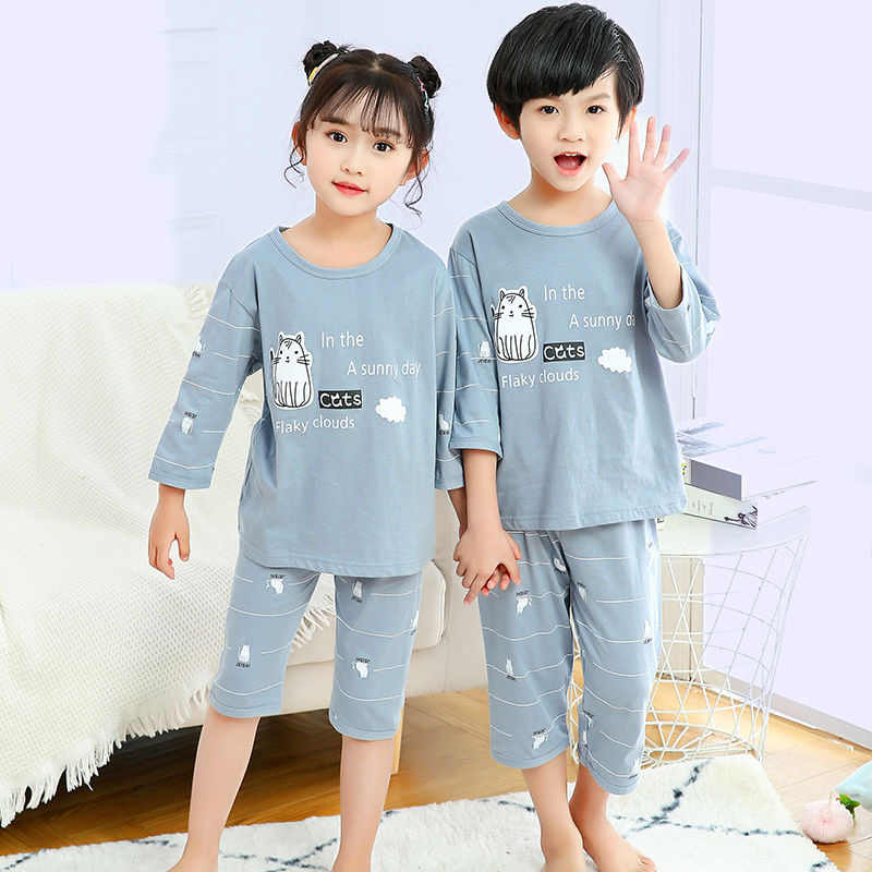 Pijamas de verano para niños, ropa de dormir de media manga para bebés, conjuntos de Pijamas para niños y niñas, Pijamas de animales, ropa de dormir de algodón