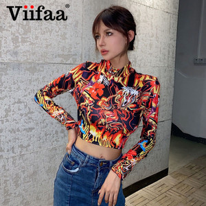 Viifaa Multicolor Print Sexy Crop Top T Shirt Stand Collar Long Sleeve Autumn Slim Fit Clubwear Women Party Tshirts Colorful