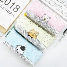 Stationery Pencil-Bag Canvas Kawaii Gift School-Supplies Cute Khaki Cat Animal Brief