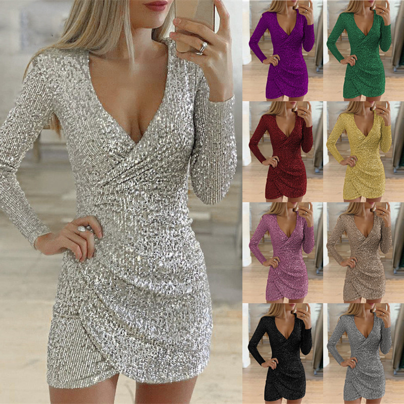 2020 NEW Women Solid Color V Neck Shining Club Wear Elastic Slim Short Party Dress(9 Colors)