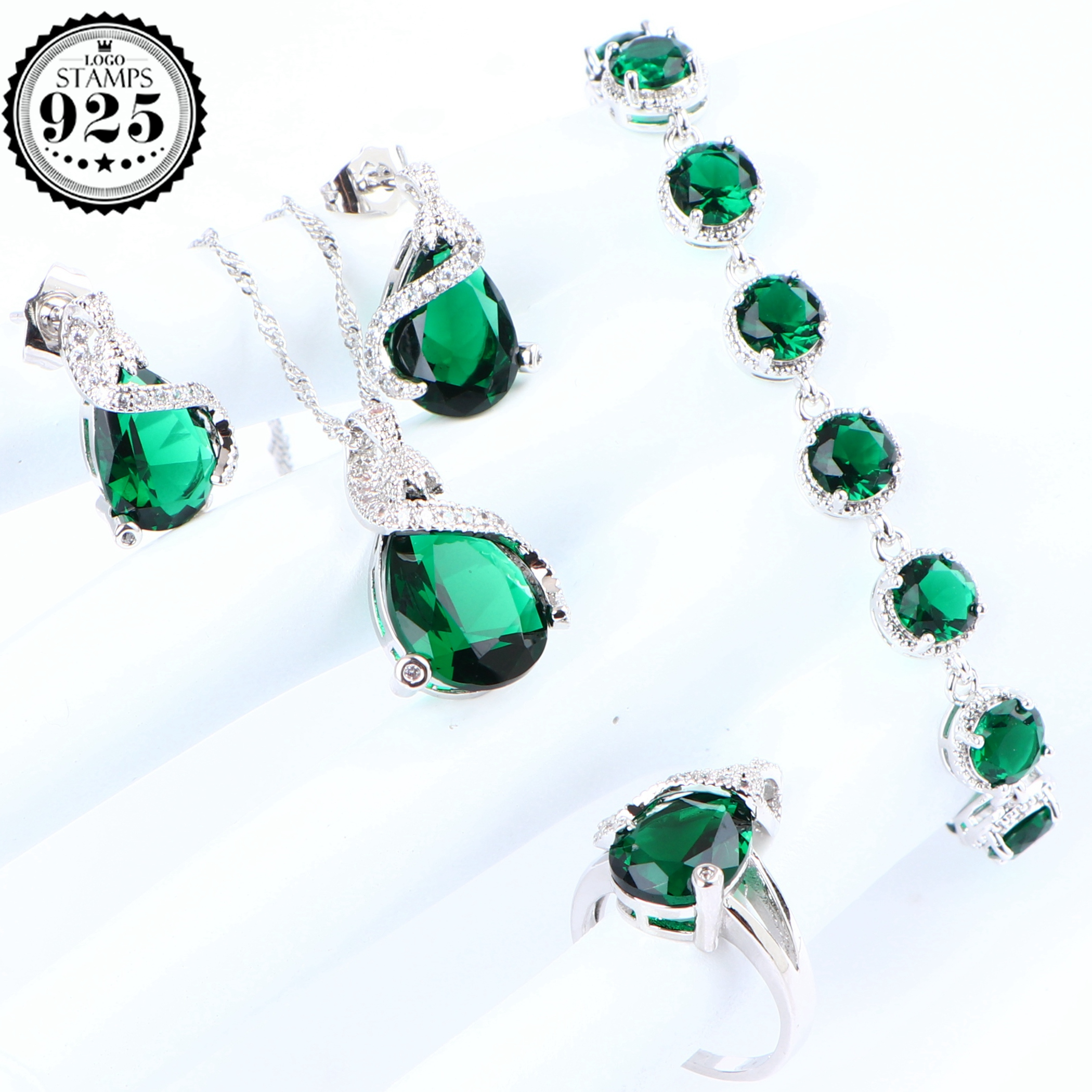 Cubic Zirconia Costume Bridal Jewelry Sets 925 Sterling Silver