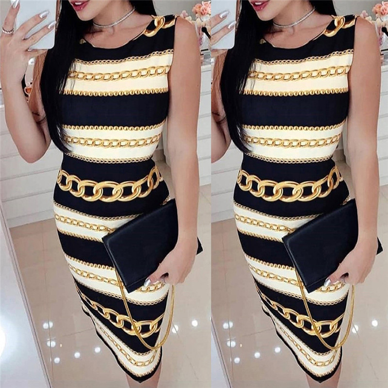 <font><b>Sexy</b></font> O Neck Sleevess Print Pencil <font><b>Dress</b></font> Women Color Matching Striped Summer Wrap Hip <font><b>Bodycon</b></font> <font><b>Dress</b></font> Office Ladies Slim Midi <font><b>Dress</b></font> image