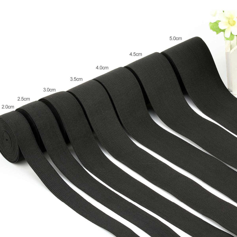 1.5/2/2.5/3/3.5/4/4.5cm Elastic Bands White And Black Polyester Elastic Bands For Clothes Garment Sewing Accessories For DIY