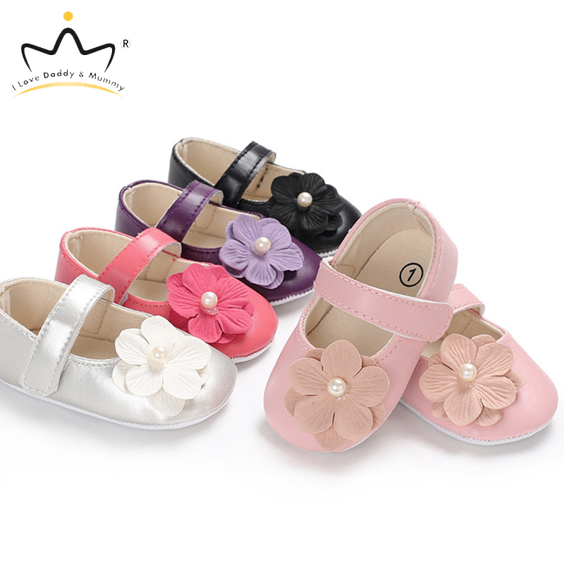 New Baby Shoes Big Flower Pearls Princess Baby Girl Shoes PU Leather Soft Soled Toddler Shoes Spring Summer Girls First Walkers