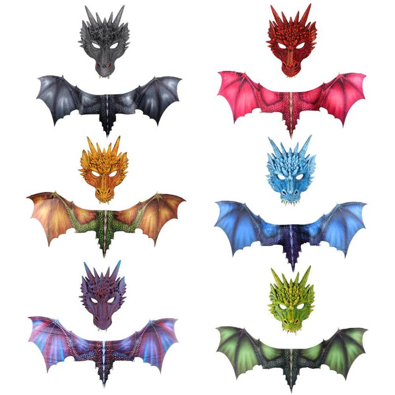 2pcs Cosplay Costume Game Dragon Mask Wings Masquerade Props Adult Kids Halloween Decoration Carnival Party Animal Face Mask