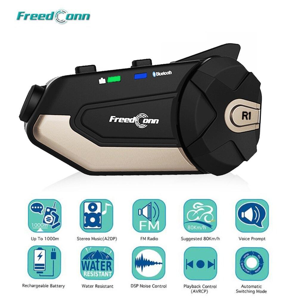 Auricular FreedConn R1 de la motocicleta Intercomunicador del casco auricular Bluetooth Intercom 1080P HD Video grabador con WiFi Cámara Intercomunicador