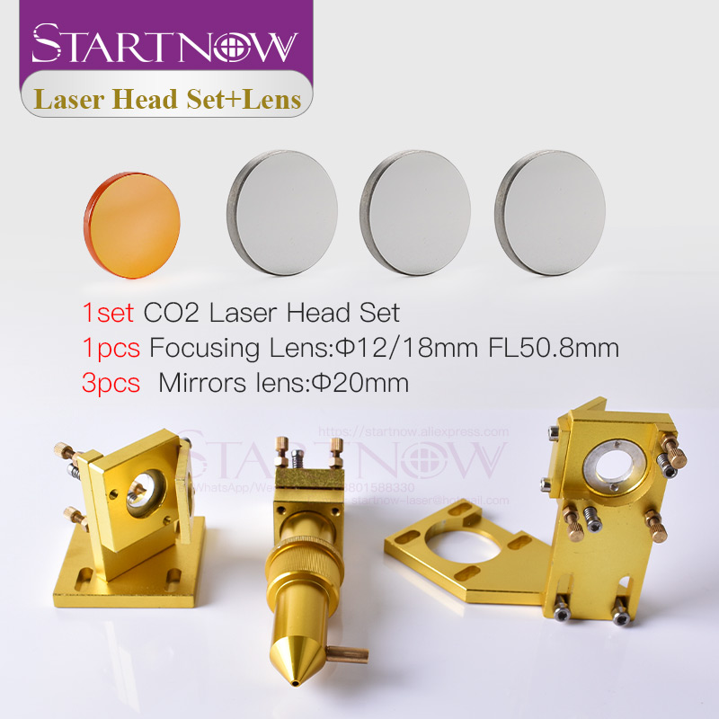 Startnow DIY CO2 Laser Head Set 12mm 18 Focus Lens & 20mm Mo Si Mirror Laser Integrative Mount Holder For 4060 K40 Laser Machine