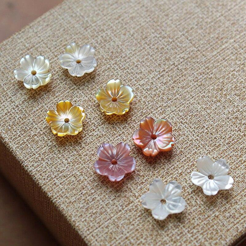 Perles en nacre naturelle, 10 pièces, 8/10mm, rose, jaune, fleur sculptée, coquille, pour la fabrication de bijoux, collier, boucle d'oreille, à la mode, DIY