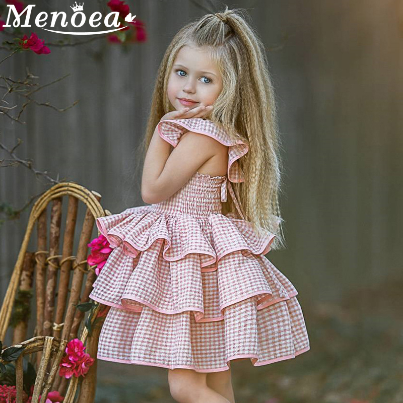 Menoea Baby Girl Dress European And American Style Children Dress Plaid Flying Sleeve Kids Birthday Dress Girls Princess Dress