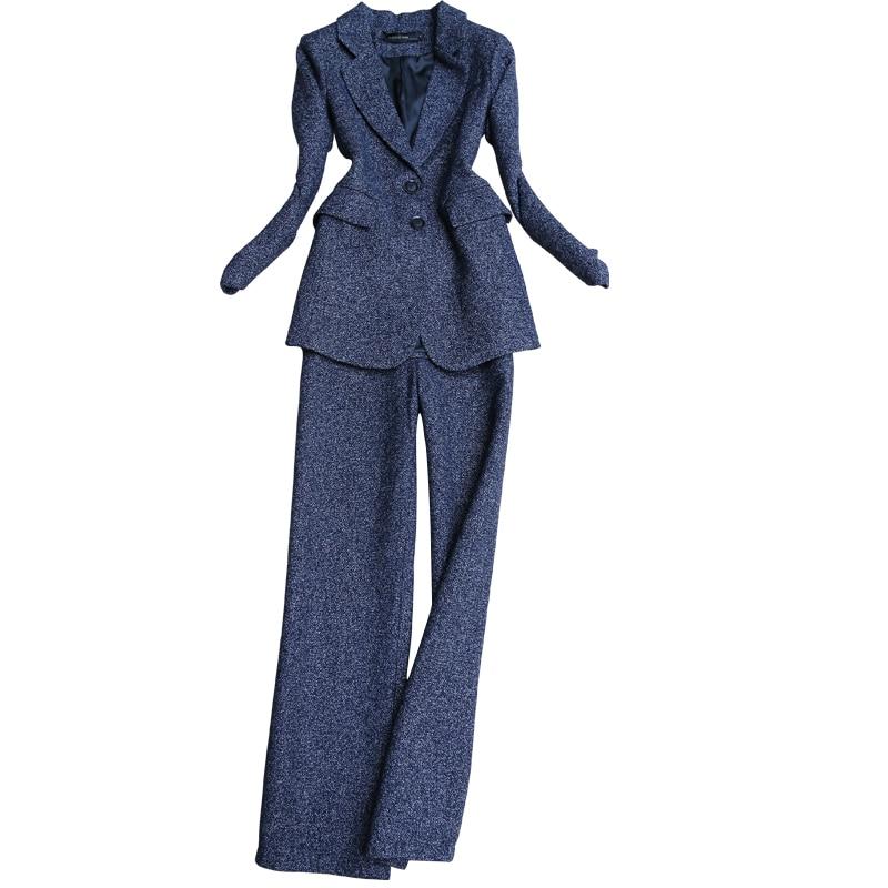 2 stück outfits für frauen herbst und winter neue mode temperament anzug grobe anzug jacke gerade breite bein hosen zwei stück - 5