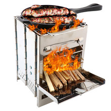 Folding grill Stainless Steel BBQ Grill Non-stick Surface Portable Barbecue Cooking Stove Outdoor Camping Backpacking Picnic foldable bbq grill outdoor camping picnic cooking grill portable stainless steel charcoal grilling stove barbecue accessory tool