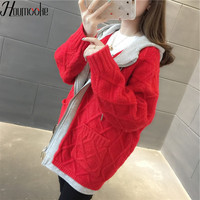 HMK Womens Zip Sweaters Sueter Mujer Sweet Knitted Female Sweater 2019 New Knit Cardigan Hooded Women Casual chic Women Sweater