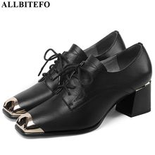 ALLBITEFO جلد طبيعي أحذية عالية الكعب مريحة النساء الكعوب الربيع الخريف عالية الكعب الفرنسية مكتب السيدات الأحذية