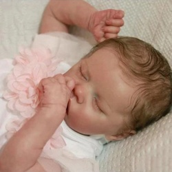 17 Inch Full Silicone Body Pouting Baby Doll Reborn Doll Realistic Sleeping Girl Princess Lovely Baby Doll For Kid Birthday Gift