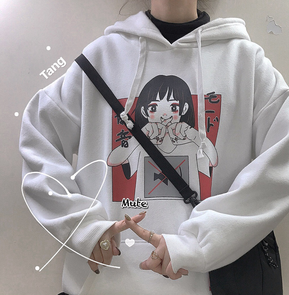 Anime Print Sweatshirt Women Kawaii Hoodie Harajuku Clothes Pullover Hooded Korean Plus Size Cotton Casual Streetwear Top V562