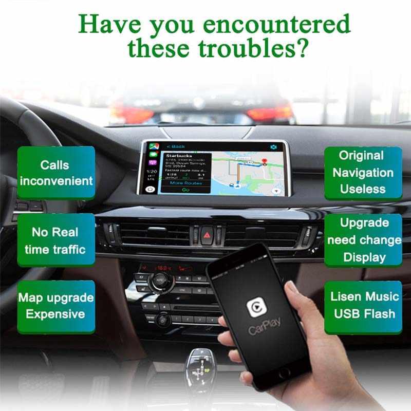 Sinairyu WIFI ไร้สาย Apple CarPlay สำหรับ BMW NBT X5 X6 F15 F16 F25 F26 2013-2016 สนับสนุน iOS/ android Auto/กระจก Spotify Waze