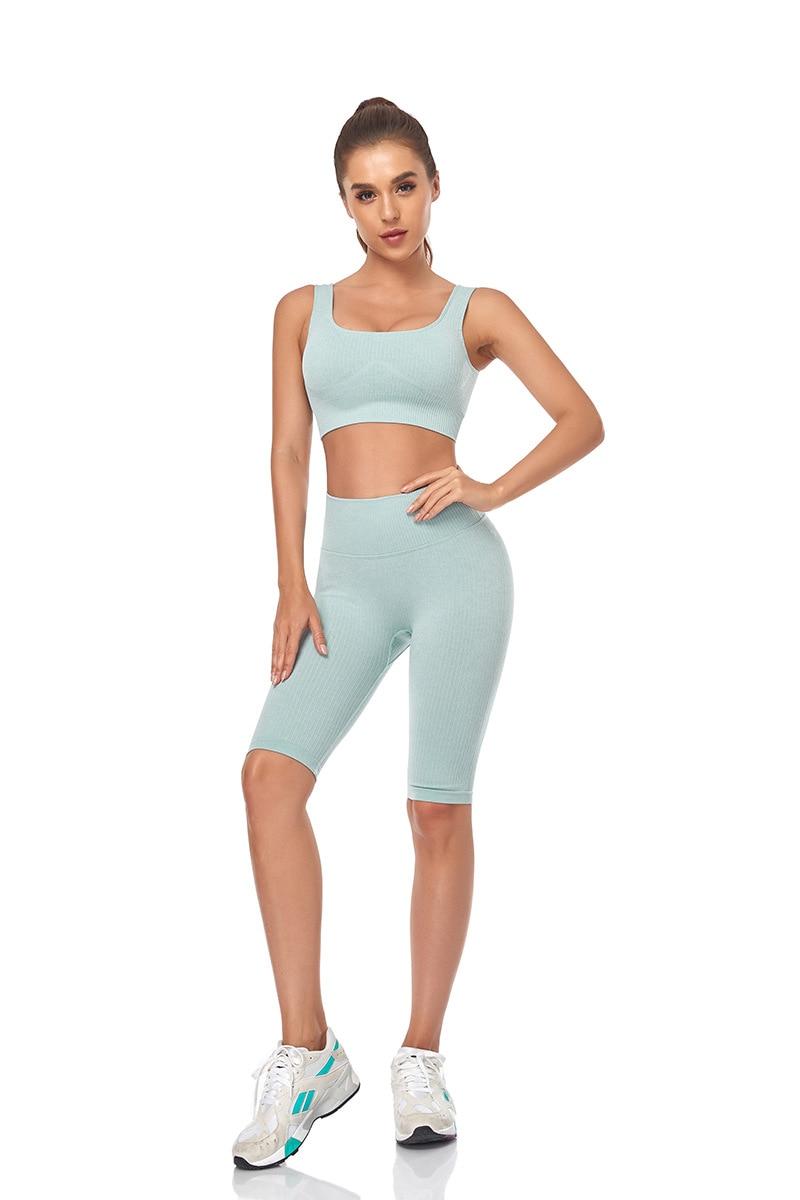 Feminino ginásio yoga conjunto de fitness sem