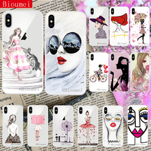 Bioumei ink painting cartoon beautiful girl soft tpu case for iPhone XS XR Max 7 8 5 5S 6 6S Plus X coque 64
