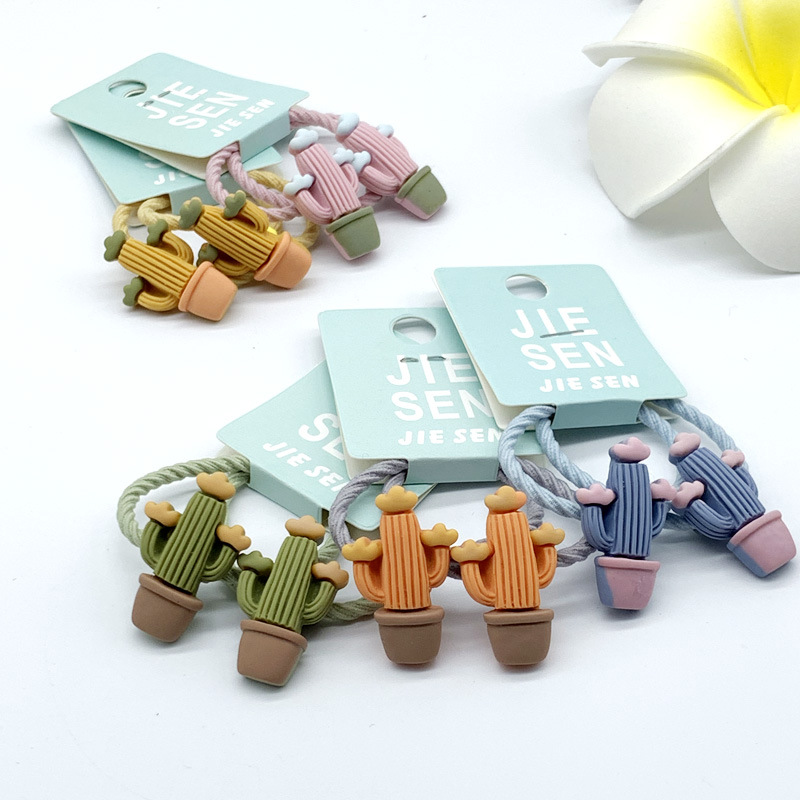 Lovely Cartoon Mushroom Cactus For Girls Hand Knotted Women Elastic Candy Hair Bands Kid Children Rubber Bands High Elasticity