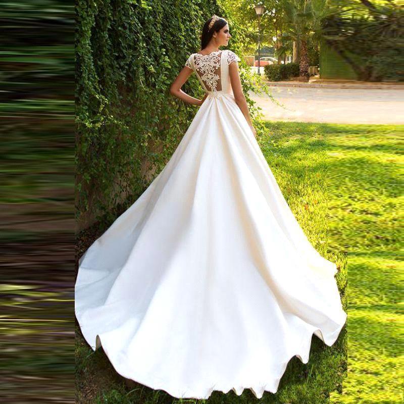 Элегантное Белое Атласное Свадебное платье принцессы, вырез лодочкой, короткий рукав, а-силуэт, свадебное платье, винтажное свадебное