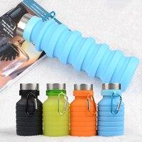 470/550 مللي للطي زجاجة ماء المحمولة قابل للسحب سيليكون زجاجة قهوة السفر في الهواء الطلق زجاجة الشرب غلاية 40
