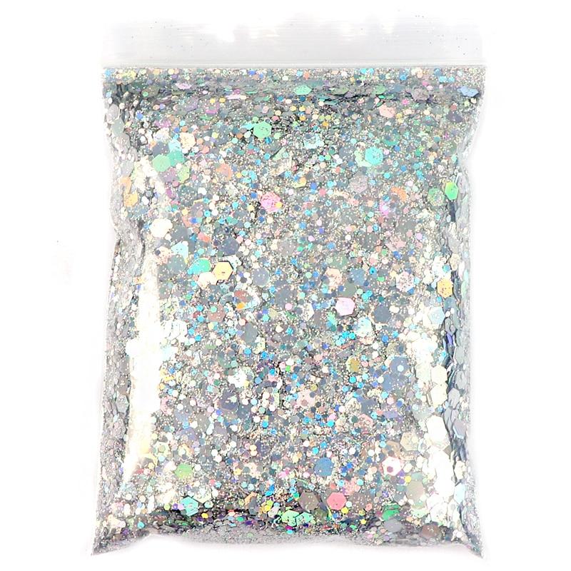 50G Holographische Mixed Hexagon Form Chunky Nagel Glitter Silber Pailletten Laser Sparkly Flakes Scheiben Maniküre Nägel Kunst Dekoration