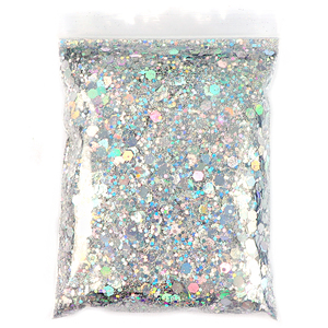 50G Holographic Mixed Hexagon Shape Chunky Nail Glitter Silver Sequins Laser Sparkly Flakes Slices Manicure Nails Art Decoration