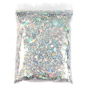 50G holograficzne mieszane sześciokątne kształt Chunky paznokci brokatowe srebrne cekiny laserowe świecące płatki plastry Manicure paznokcie sztuka dekoracji tanie i dobre opinie RIKONKA CN (pochodzenie) 1 Bag Chunky Glitter Holographic Chunky Glitter Holo Chunky Glitter Mixed holographic glitter Nail art glitter Sequins