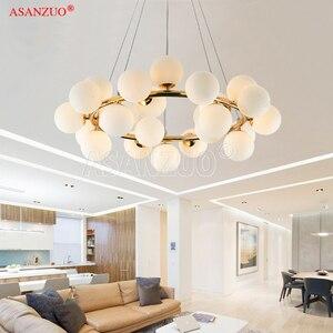 Image 2 - Lámpara colgante de araña colgante de cristal, estilo moderno, barra dorada negra, para comedor, Retro, LOFT