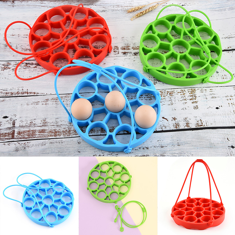 9 Holes <font><b>Silicone</b></font> <font><b>Egg</b></font> Rack Steamer Mold <font><b>Holder</b></font> Tray With Removable Handle For Steaming Pot <font><b>Silicone</b></font> <font><b>Egg</b></font> Steamer Rack Instant Pot image