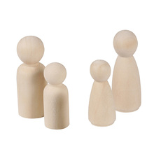 20 Pcs Female Peg Natural Hard Paint Unfinished Male Kids Toy Educational Wooden Doll