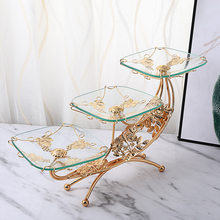European-Style Classic Crystal Glass Fruit Plate Retro Light Luxury Hotel Club Dessert Pastry Decorative Tray